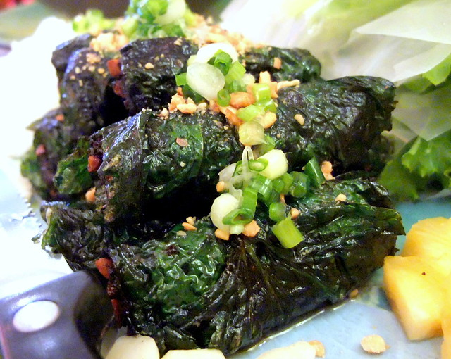 Grilled Ground Beef wrapped in Betel Leaf