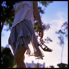 Heels (Lefty Jor) Tags: hk 120 6x6 film girl t hongkong holding shoes day dof hand dress wind kodak bokeh sunny hasselblad heels through misu planar 500cm carlzeiss 80mmf28 ektacolorpro160