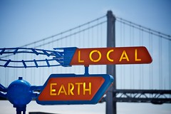 Local  Earth (Chris Saulit) Tags: sanfrancisco sign northerncalifornia dof earth space gothic retro depthoffield future signage embarcadero rocket local norcal rocketship raygun spaceage pier14 ufoculture