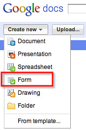 Google docs - create new form