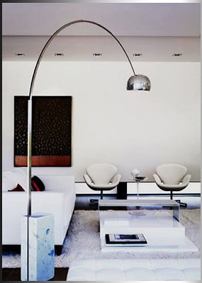 Modern Castiglioni Arco White * Black Marble Floor Lamp