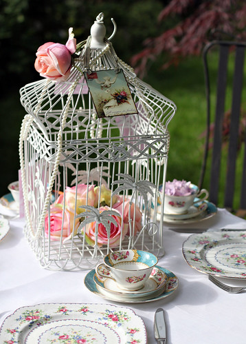 Shabby Chic Bird Cage Centre Piece