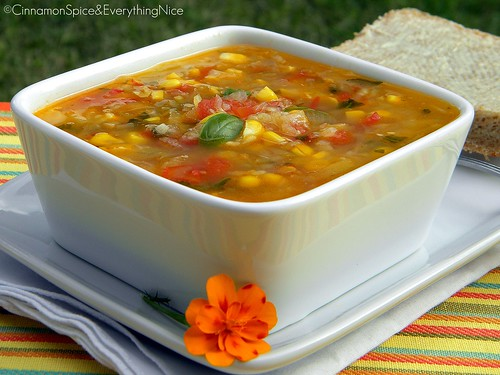 Corn, Tomato and Zucchini Soup with Basil