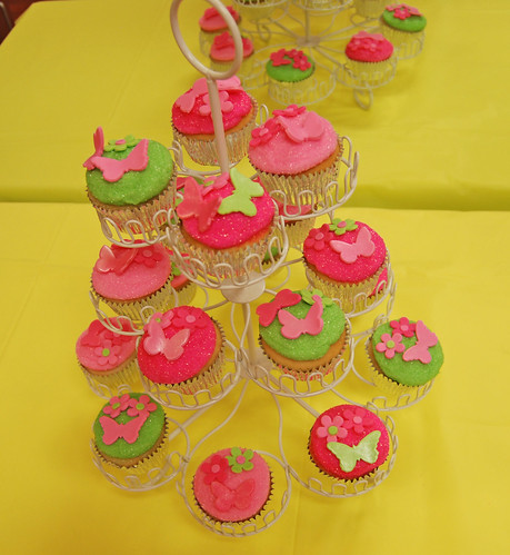 Pink and Green Glitter Cupcakes with butterflies and flowers for a First Birthday
