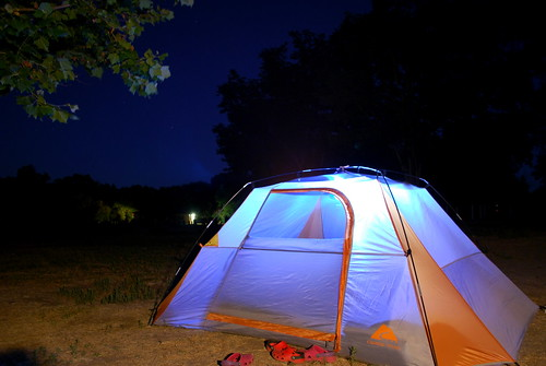 tent in the dark