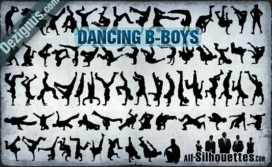 Click en la imagen para descarga 69 Siluetas en formato vector - B-Boys