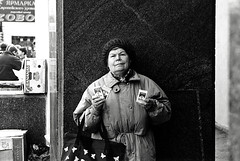 A woman selling cigarettes on the street in Moscow, Russia, in 1996 (inchiki tour) Tags: street travel bw photo blackwhite russia moscow