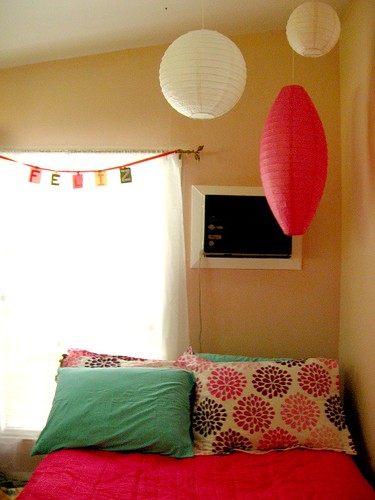 bed + curtain + lanterns