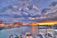 DSC_5123_4_5_6_7_HDR (Buddy8d) Tags: bridge sunset nikon taiwan   taoyuan hdr  d300  xinwu 5xp buddy8d yonganharbor