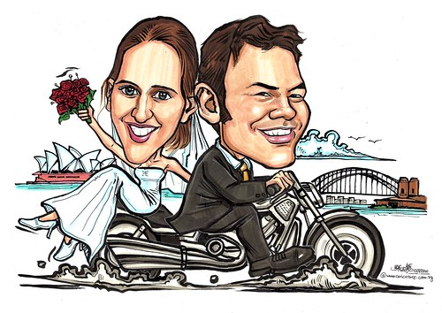 Couple caricatures wedding on bike in Sydney A3
