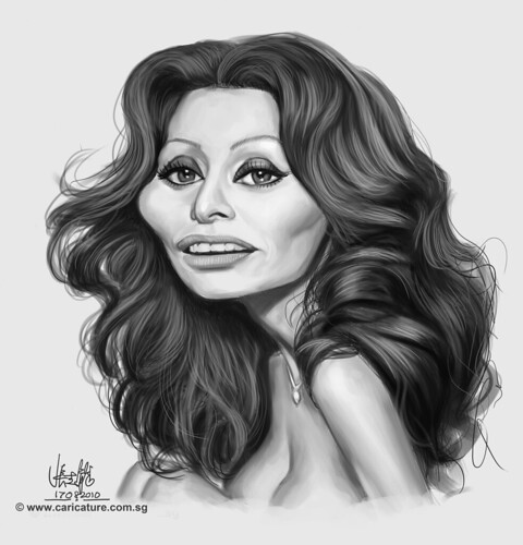 digital caricature of Sophia Loren