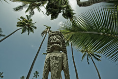 historical hawaii (flequi) Tags: park wood summer history statue canon palms island hawaii polynesia islands big ancient pacific culture palm national hawaiian historical hawai hanaunau puhonua