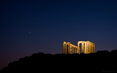 aphrodite bids poseidon goodnight (helen sotiriadis) Tags: blue sky orange black yellow night canon landscape star ancient published venus greece astrophotography planet gods aphrodite poseidon sounion canonef50mmf14usm poseidonstemple canoneos40d