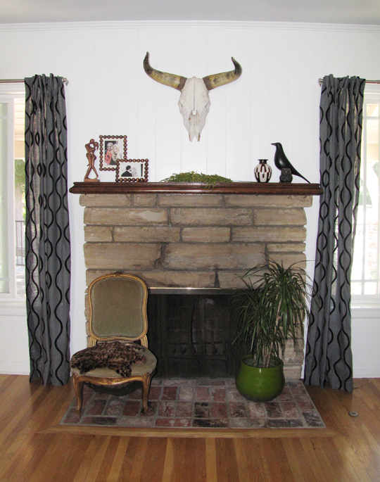 fireplace sitting area+cow skull+eames house bird