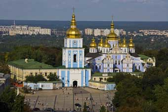 Mikhailivsky Cathedral from Bell Tower St Sophia