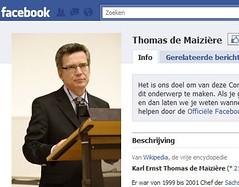 De Facebook-pagina van de Duitse minister Thomas De Maizière
