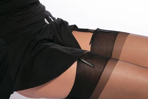 Miss in black nylon 04