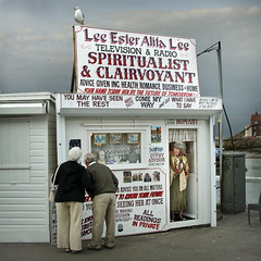 Clairvoyant (gms) Tags: england booth seaside couple seagull yorkshire hut whitby fortuneteller con northyorkshire clairvoyant spiritualist