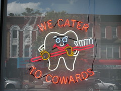 We Cater To Cowards Sign, Sunset Park (New York Big Apple Images) Tags: newyork brooklyn sunsetpark