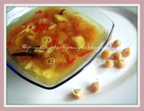 Sprouted chickpeas & Tomato Rasam