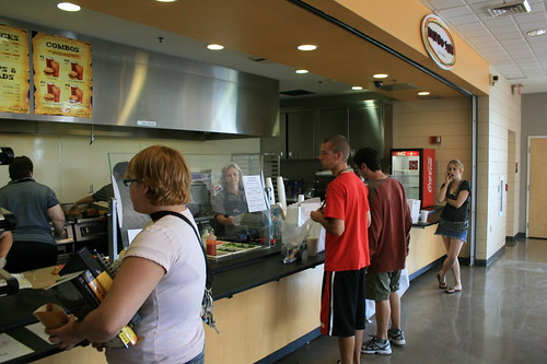 Students wait in line for food at the new Coyote Jack's and Mondo Subs, located on the fourth floor of the Slemp Student Center. The restaurants replace Papa Joe's, which can now be found on the bottom level of the Smith Dining Commons.