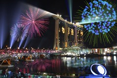 Singapore YOG closing ceremony firework :MBS: (Kenny Teo (zoompict)) Tags: bridge light reflection building beautiful wonderful lens scenery photographer waterfront view best kenny zoompict stunningfireworks