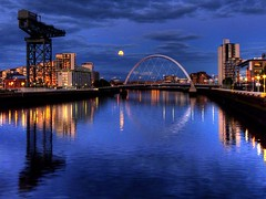 Full moon over Glasgow (velton) Tags: bridge bells scotland clyde glasgow centre science bbc secc armadillo hdr squinty finneston ceane velton