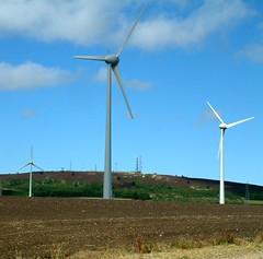 Wind Farm Turbines. (ewenhwatt) Tags: sky windmill clouds landscape scotland energy power aberdeenshire structures deer electricity masts turbine communications windfarm ariels windpower turbines ecosse windturbines fraserburgh strichen aberdonia newleeds mormondhill flickrunited flickrunitedaward northredbog