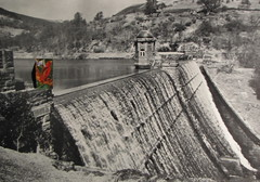 Hugh Hughes: Red Bird over a dam