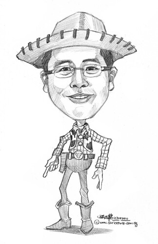 Toy Story Woody caricature in pencil