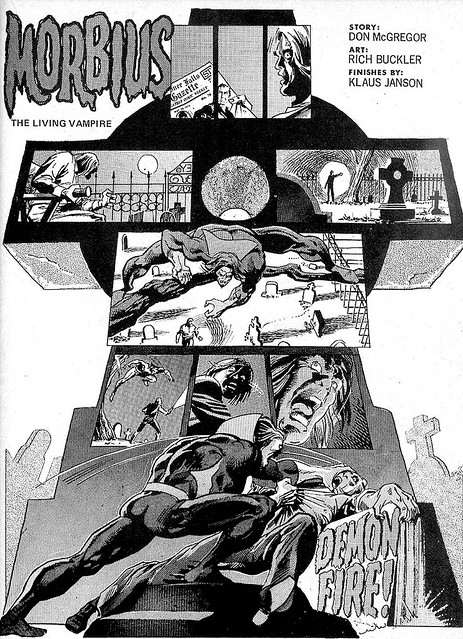 Morbius splash page from Vampire Tales 3 by Rich Buckler and Klaus Janson