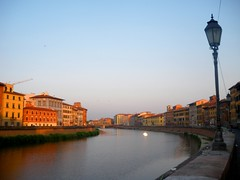 Picturesque awakening in Pisa, Italy. (Piedros) Tags: bridge italy sunrise river pisa tuscany brug arno italië rivier toscanië
