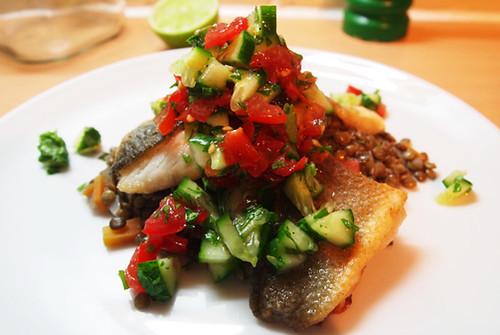 Seabass lentils