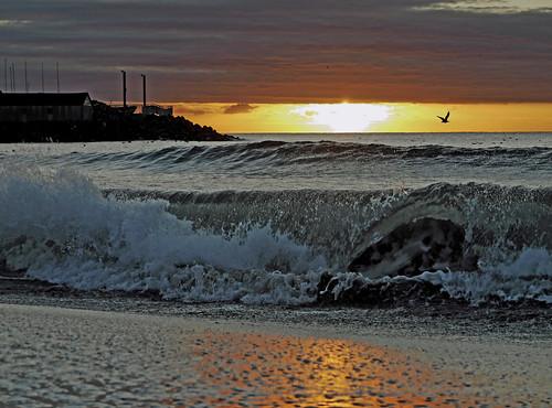 フリー写真素材, 自然・風景, 夕日・夕焼け・日没, 海, 波,