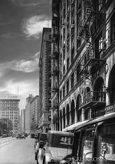 back in the days (Kris Kros) Tags: california old bw white black building classic cars photoshop la losangeles 1930s downtown antique kris hdr 30s kkg photomatix kros kriskros 1xp cs5 saariysqualitypictures kkgallery