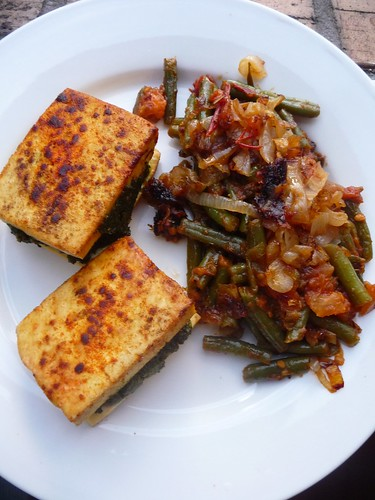 Pesto Stuffed Tofu, Green Beans, Tomatoes and Caramelized Onions