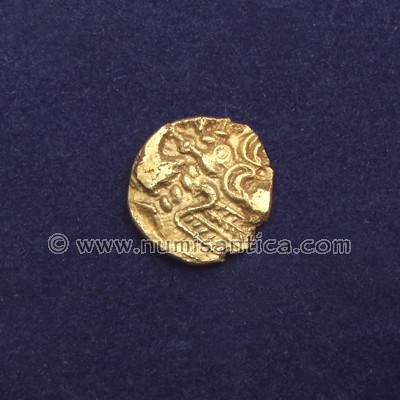 Celtic coin, Remi tribe, gold quarter stater
