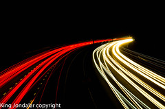 Motorway/Highway Light trails (kingjondalar) Tags: longexposure bridge red white southwest cars beautiful night contrast speed lights licht scary highway different view darkness motorway streak trails autobahn devon exeter stunning lighttrails curve southwestexeter