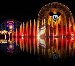 Cat and Mouse (Ring of Fire Hot Sauce 1) Tags: reflection water night disneyland mickeymouse fountains lionking disneycaliforniaadventure paradisepier waltdisneyswonderfulworldofcolor mickeysfunwheel