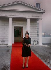 Nina on the Red Carpet:) Aras An Uachtarain - Offical Residence of the President of Ireland, Dublin (sean and nina) Tags: mobile phone image photo red carpet special guest aras an uachtarain dublin ireland irish president state dinner croatian serb event occasion formal dress tights shoes handbag hairstyle make up pillars white building architecture residence phoenix park beauty beautiful gorgeous stunning elegant charming woman female girl lady fiancee wife married girlfriend nina people person outdoors outside