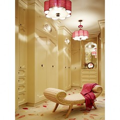 Glamorous Dressing Rooms (It's Great To Be Home) Tags: pink floral closet feminine elegant chaise pendant builtins glassknobs
