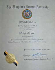 MCMD Lost Pets recognized by MD General Assembly!