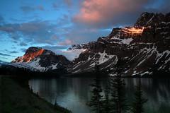 Bow Lake Sunrise (Joe Szalay) Tags: lake canada mountains sunrise reflections glacier jaspernationalpark bowlake canadianrockies crowfootglacier