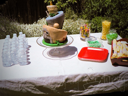 Indiana Jones birthday party table food cake