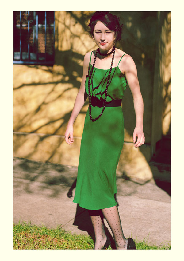 Green Dress, Shoestring straps, Vintage Fashion Photography