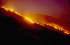 Etna on fire, 13 March 1999 (etnaboris) Tags: italy mountain nature landscape volcano lava italia natura sicily taormina etna montagna incandescent eruption sicilia paesaggio vulcano lavaflow incandescenza eruzione colatadilava