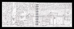 sketchbook 2010 Camp Walden (Martin Beek) Tags: travel usa art america idea sketch drawing michigan sketchbook line study americana summercamp linear cheboygan 49721 campwalden thegreatmidwest thirtyyearsofsketchbooks americantraveldrawings martinbeeksdrawings linddrawings