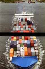 Freight (chipsmitmayo) Tags: from above water canal diptych ship norden container schiff freight kiel nordostseekanal nok schleswigholstein schleuse hochbrcke frachter vertorama