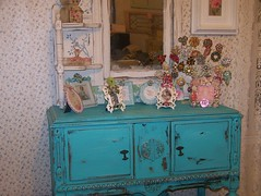 Turquoise Fleamarket Buffet (MyInnerPrincess) Tags: vintage aqua furniture antique turquoise painted storage buffet chic ornate shabby goldstaraward