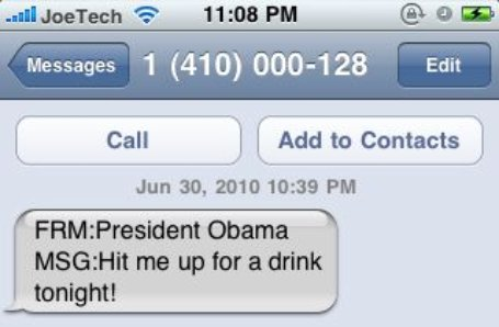 President Obama Text Message